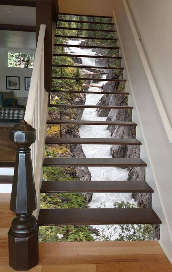 3D Maligne River Stair 66 Risers Staircase Stairway Stairs Risers Stickers Mural Photo Mural Vinyl Decal Wallpaper Removable