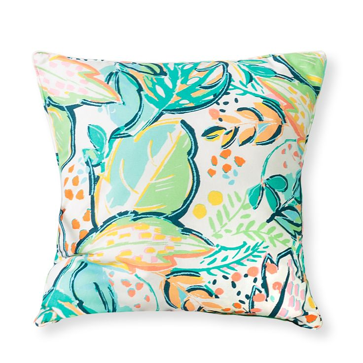 In a vibrant hand painted leaf palm pattern in verdant greens, bright corals and washed out neon tones, the crisp cotton Ro Palm Print Cushion will bring a burs