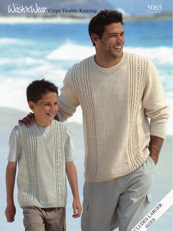 Mens Knitting Pattern Mens Sweater Mens Slipover Boys by Hobohooks