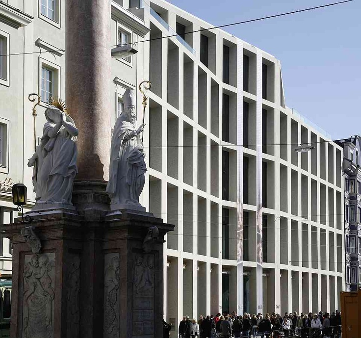 Facade of the Kaufhaus Tyrol by the Brittish architect David Chipperfield. Great repetitive and somewhat classical facade.