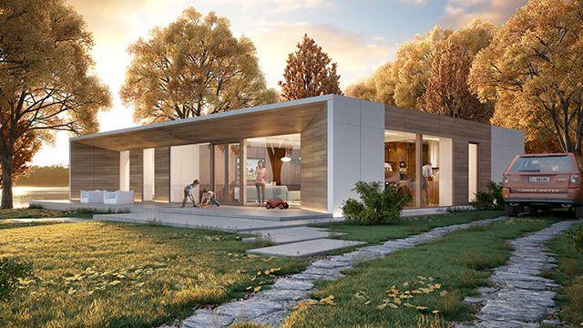 Model H7   wielkość domu 162 m²   liczba pokoi 3-4   min. wielkość działki 22 m × 25 m PARTEROWA REZYDENCJA Z PŁASKIM DACHEM  Projektując dom H7 kierowaliśmy się przede wszystkim komfortem i wygodą. Duży salon z wyjściem na taras połączyliśmyz jadalnią. Część nocną zaaranżowaliśmy w drugim skrzydle domu. Prostą bryłę budynku ożywiliśmy ciekawie zaaranżowanąelewacją w części