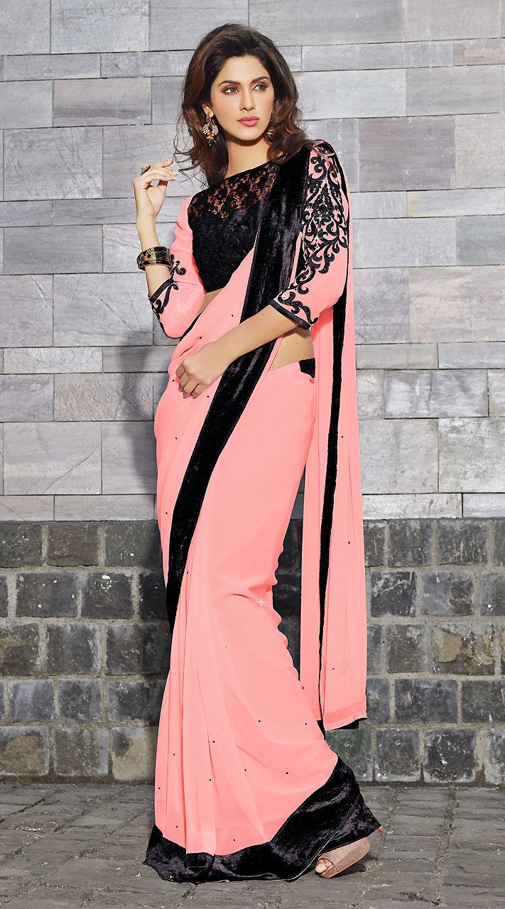 pink-georgette-black-border-light-work-saree-with-matching-blouse-3h1032741