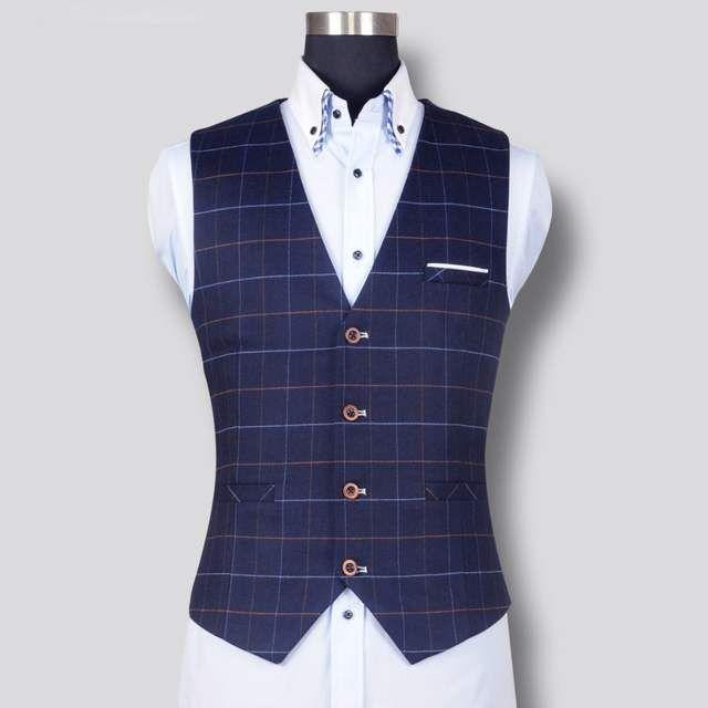 new product 40184 590a9 Online-Shop Neue Mode Für Männer Plaid Weste Formelle ...
