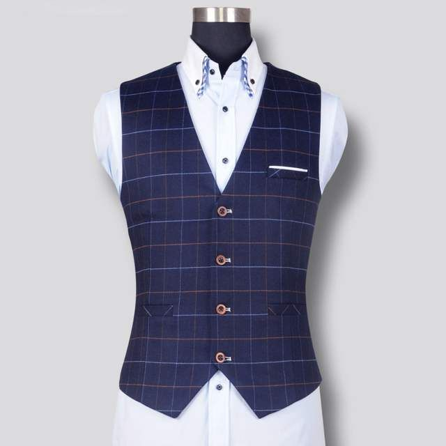 new product fb07b 2abea Online-Shop Neue Mode Für Männer Plaid Weste Formelle ...