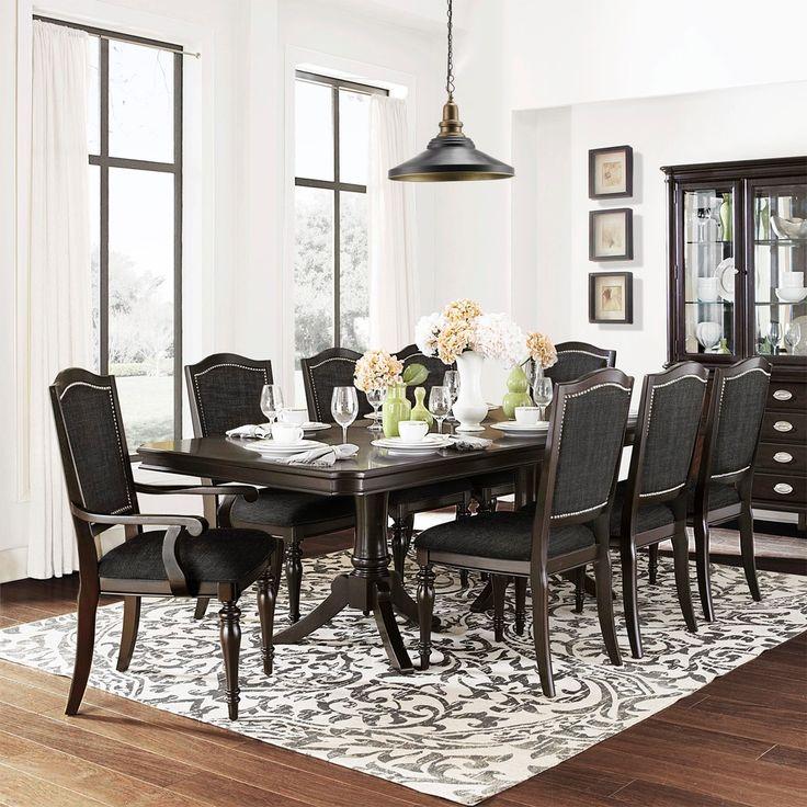 TRIBECCA HOME U0027LaSalleu0027 Espresso 9 Piece Pedestal Extending Table Dining Set  | Overstock