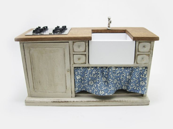 Miniature dollhouse furniture sink cabinet with steel hob by viliaminiature on Etsy https://www.etsy.com/listing/202053025/miniature-dollhouse-furniture-sink