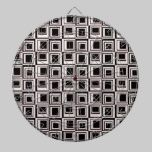 Contemporary Pink and Black Squares Pattern dartboards