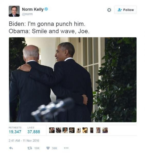 Donald Trump will soon be moving in to the White House with his chosen Vice-President elect Mike Pence. It's a sad state of affairs, but people are trying to make light of the situation by celebrating the bromance between Barack Obama and his current Vice