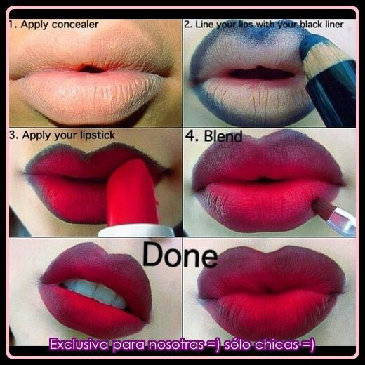 Ombre lipstick . Bold red ..gothic make up