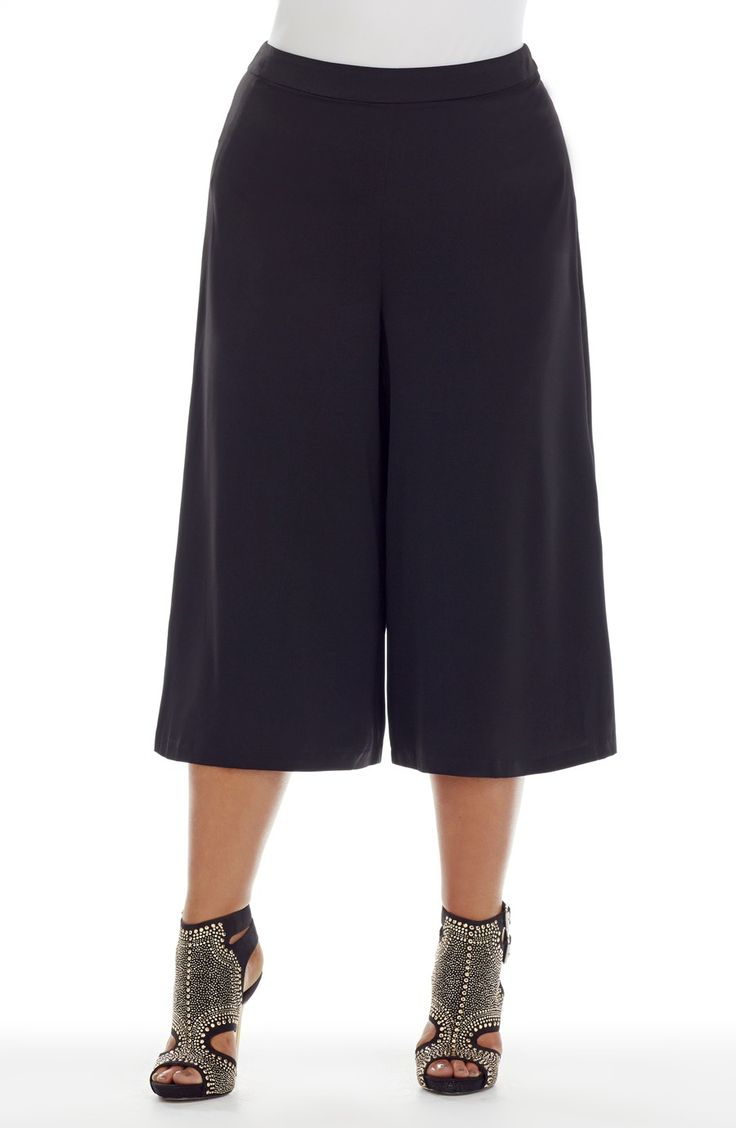 Wide leg Culotte Skirt - black -  Style No: SK8075  Microfibre Twill fabric culotte skirt. This is a longer length culotte with a side zip and a self fabric waistband. #plussize #dreamdiva #dreamddivafiles #fashion