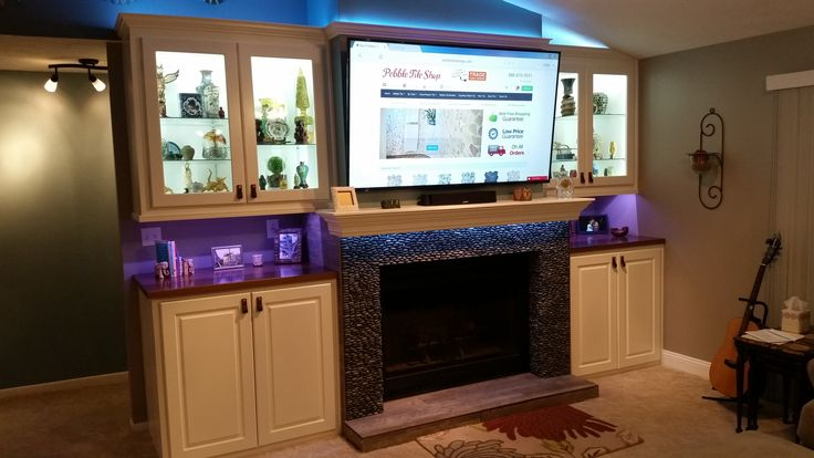 Best Images About Fireplaces Pebble And Stone Tile