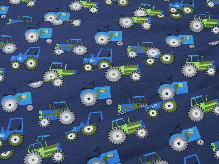 Jersey vert bleu tracteurs sur bleu foncé Tissu Jersey de Coton 0,5m 003230 : Tissus Habillement, Déco par magasin-tissu
