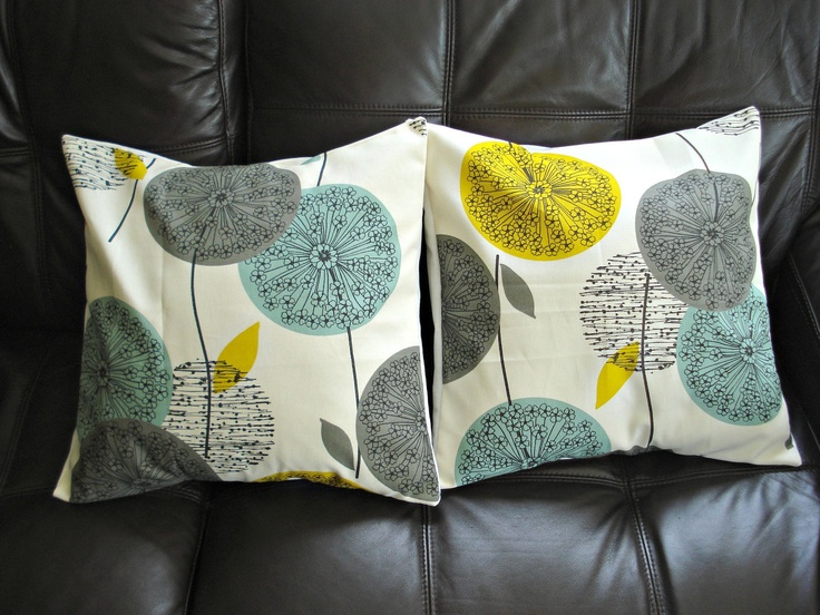 Pillows Dandelion Yellow Blue Teal Pillows Grey Gray Black