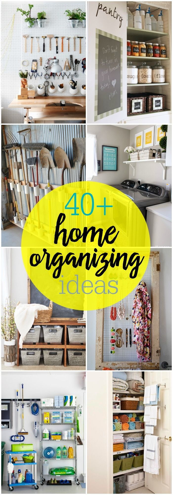 40+ Home Organizing Ideas. A great collection of ideas as you prepare to organize the rooms in your home!