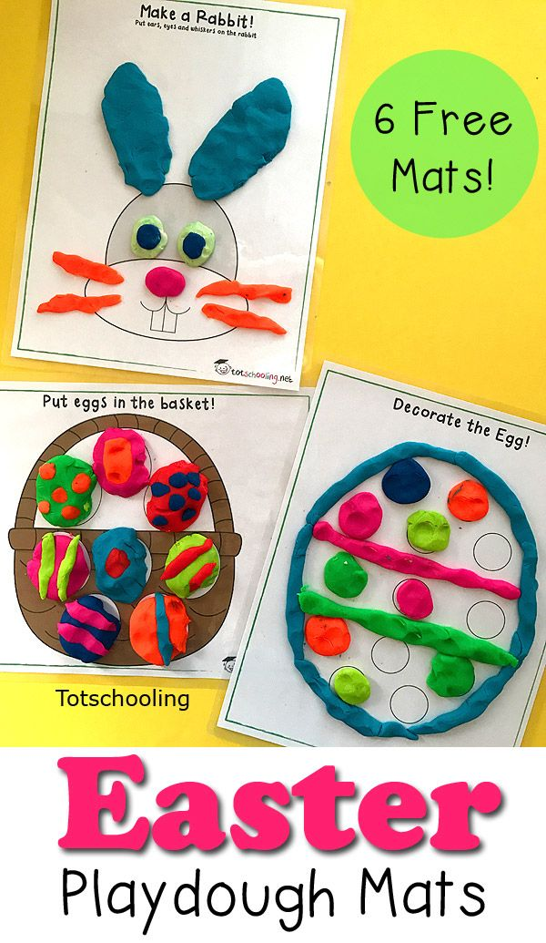 Free Easter Playdough mats for kids featuring the Easter bunny and eggs. Great for encouraging creativity, logic, fine motor skills and color recognition.