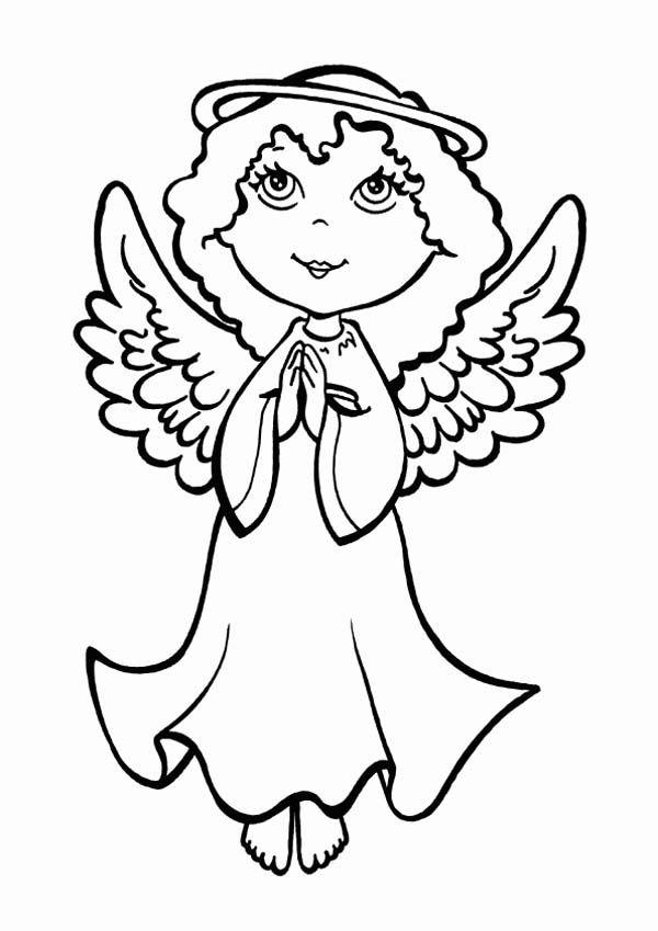 Christmas An Angel Making Pray On Christmas Eve On Christmas Coloring Page Angel Coloring Pages Baby Coloring Pages Precious Moments Coloring Pages