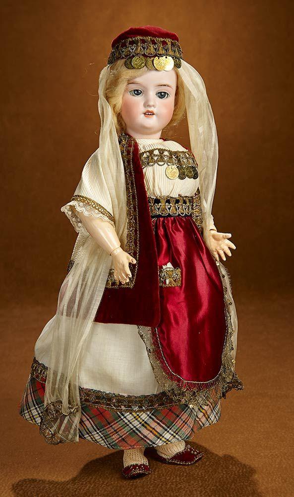"Bittersweet - October 28-29, 2017 in Scottsdale, Arizona: 274 German Bisque Child in Original Traditional Costume, ""Rosebud"" Box"