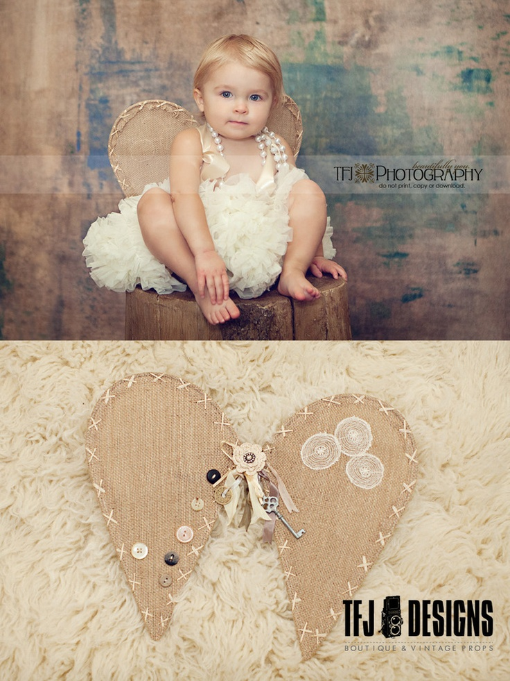 Linen Wings - Shabby Chic with Vintage Flare - Toddlers Girls - Photography Prop by TFJ Designs