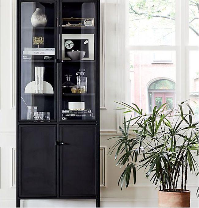Black Glass Display Cabinets, Black Living Room Cabinet