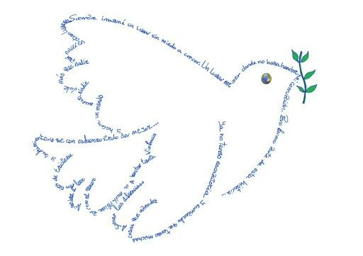 """Caligrama de la Canción """"Hacer un Mundo Nuevo"""" para el día de la Paz de @UnaiQuiros"""