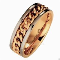 Titanium Wedding Ring 18k Gold Plated Chain 8mm Band Comfort Fit
