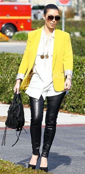 Pants:  Siwy Mick Pants in Speechless    Similar Items  Blazer:  Stella McCartney Blazer in Yellow    Similar Items  Shoes:  Christian Louboutin Daffy Pumps    Similar Items  Bag:  Balenciaga Paper A3 Bag