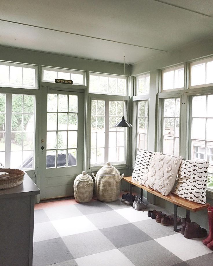 "Kate Arends on Instagram: ""This room use to be full of junk and boxes waiting to be recycled. We still need to replace the windows and insulate the space, but it works as our ""mudroom"" for now. (More details about this flooring is coming soon!)"""