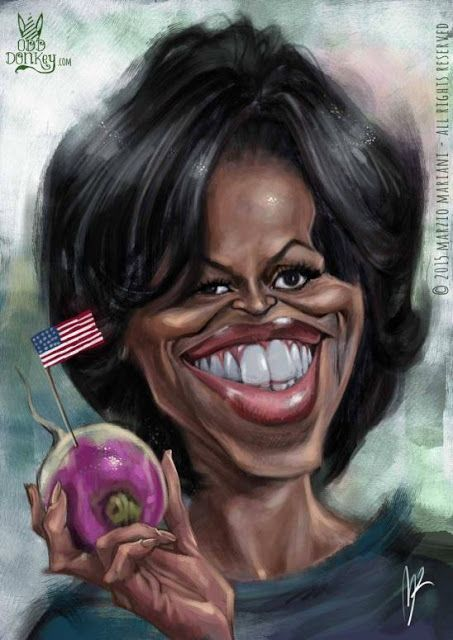 Michelle Obama por Marzio Mariani - Caricaturas de Famosos