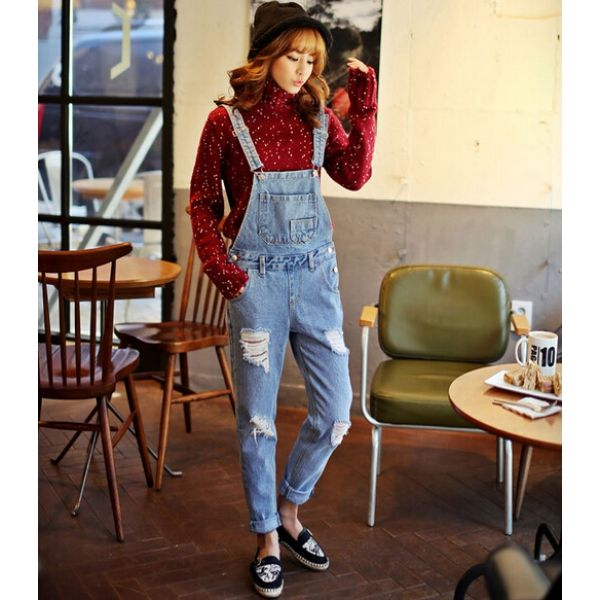 New Style Button Decorated Hole Pure Color Straps Mid Waist Jean Denim for wholesale womenjumpsuit|Lower Wholesale Price #wholesalejumpsuit #womenjumpsuit By   www.clubwholesale.net