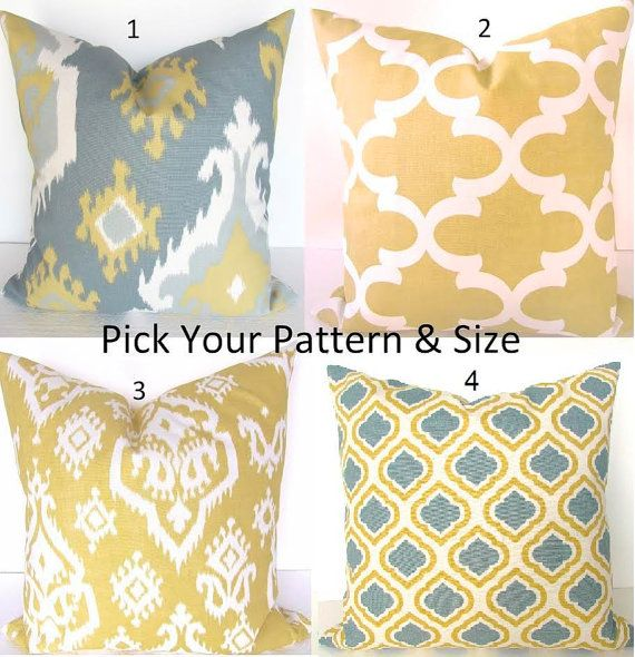 YELLOW PILLOWS Gray Decorative Throw Pillows Yellow Gold Grey Pillow Covers 18x18 16 20 Sizes Gray Pillows SALE Home and Living Home Decor