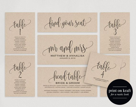 This listing includes 5 high resolution PDF wedding seating chart templates for you to customize. Make your own DIY table seating cards, table