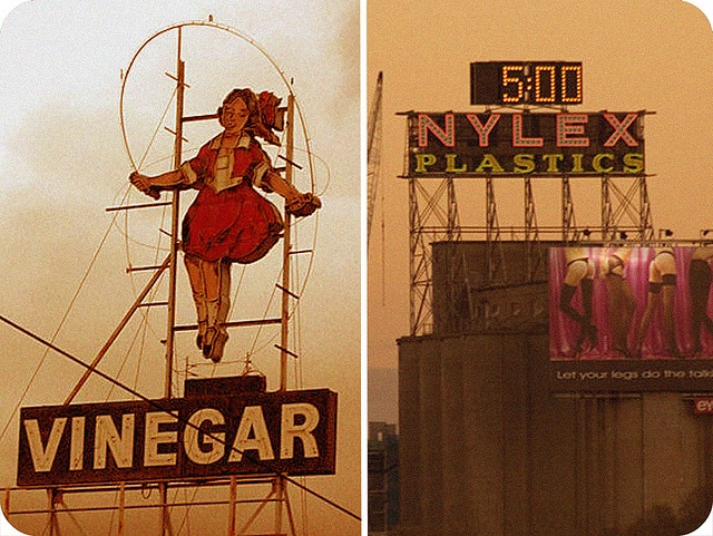 i heart melbourne. | Flickr - Photo Sharing  By milkboymedia  Nikki	  (The Nylex clock and the Skipping Girl Vinegar sign)