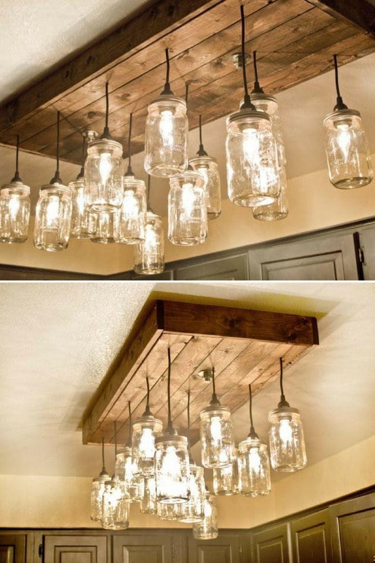 Mason Jar Wood Pallet Chandelier Id Lights Rustic Kitchen