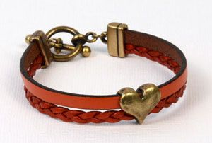 Create a bracelet for Valentine's Day with this Arizona round leather and antique brass slider! Find all the components you need at AntelopeBeads.com