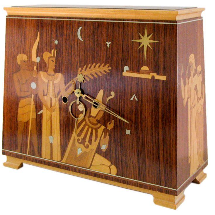 Swedish Art Deco mantel clock from Mjolby Intarsia, Birger Ekman