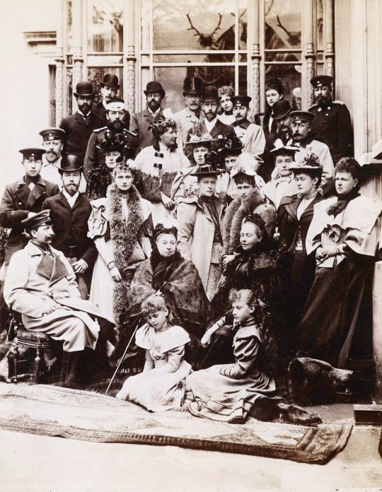 Queen Victoria and her family, including King Edward VII, Tsar Nicholas II, Tsarina Alexandra, Kaiser Wilhelm II and Empress Frederick at a wedding in Coburg, Germany, 21 April 1894