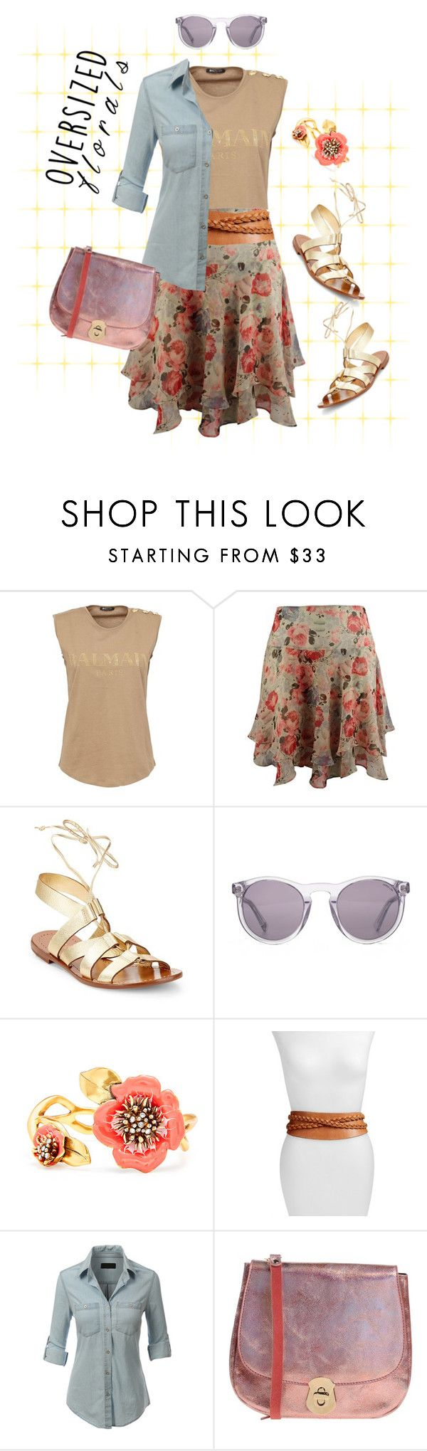 """Oversized Florals"" by lence-59 ❤ liked on Polyvore featuring Balmain, Kate Spade, HOOK LDN, Oscar de la Renta, Ada, LE3NO and Suoli"