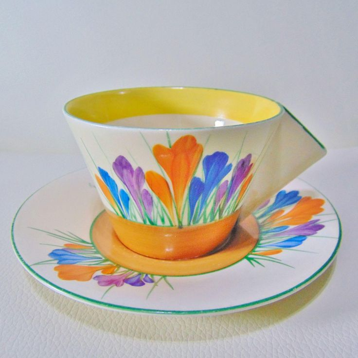 Clarice Cliff Solid Conical Art Deco Tea Cup and Saucer - Crocus from timeless-antiques on Ruby Lane