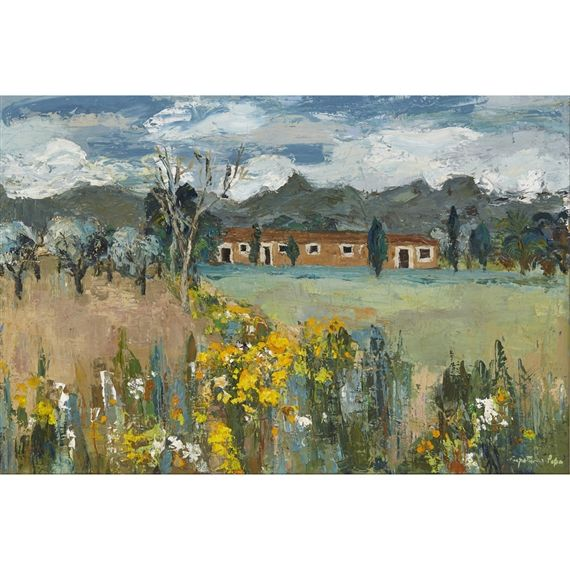 Artwork by Perpetua Pope, FARM BUILDINGS AND SPRING FLOWERS, Made of oil on canvas