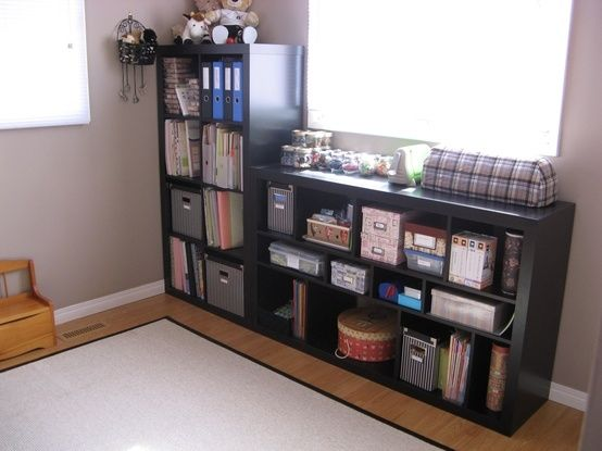 strategically placed shelving Expedite Shelving from IKEA in black/ brown - Scrapbook.com by maryann
