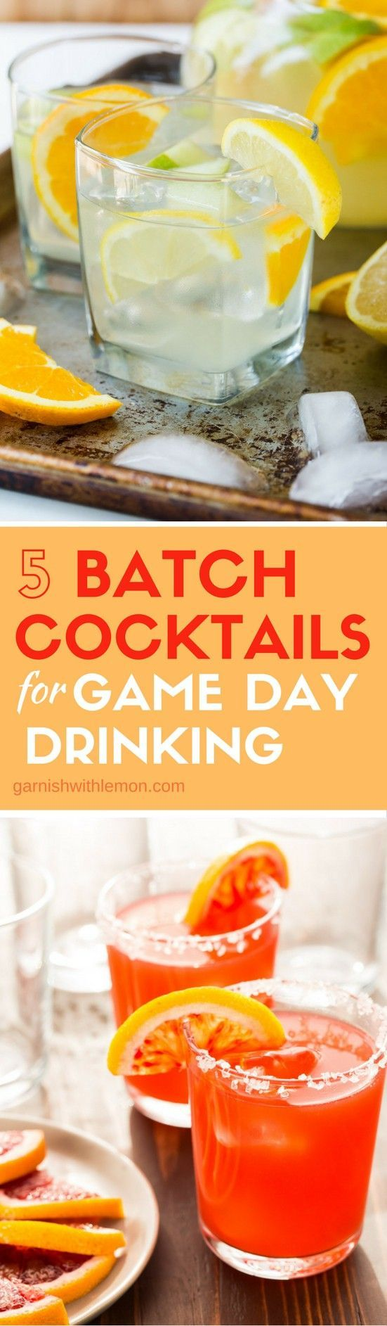 Sports fans are a thirsty crew! Quench everyone's thirst with these 5 Big Batch Cocktails for Game Day Drinking!  #batchcocktails #pitcherdrinks #cocktails #drinks