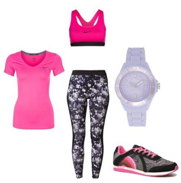 Conjunto deportivo Nike rosa. Leggings con estampado, deportivas Desigual, sujetador Nike #moda #conjuntos