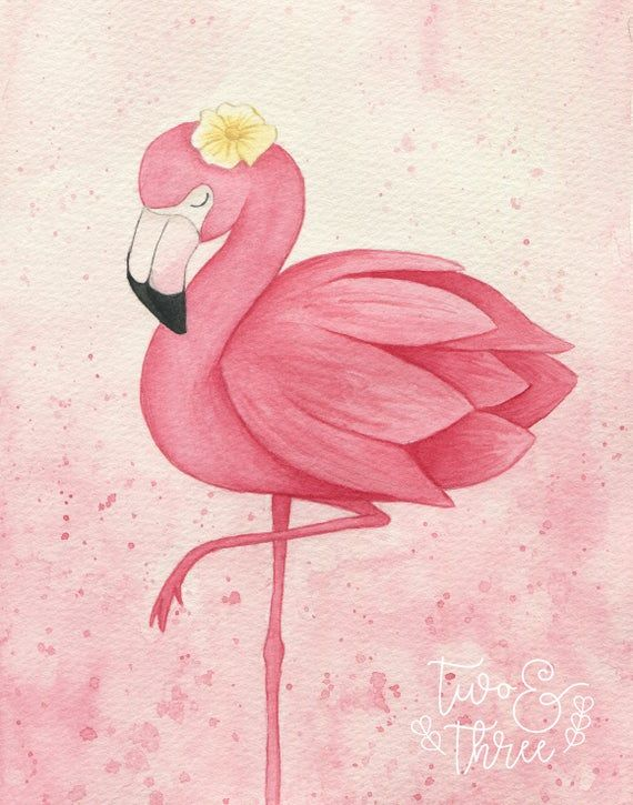 Children S Art Print A3 Nursery Art Flamingo Watercolour En 2020