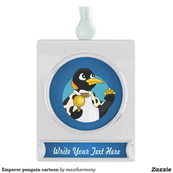 Emperor penguin cartoon silver plated banner ornament