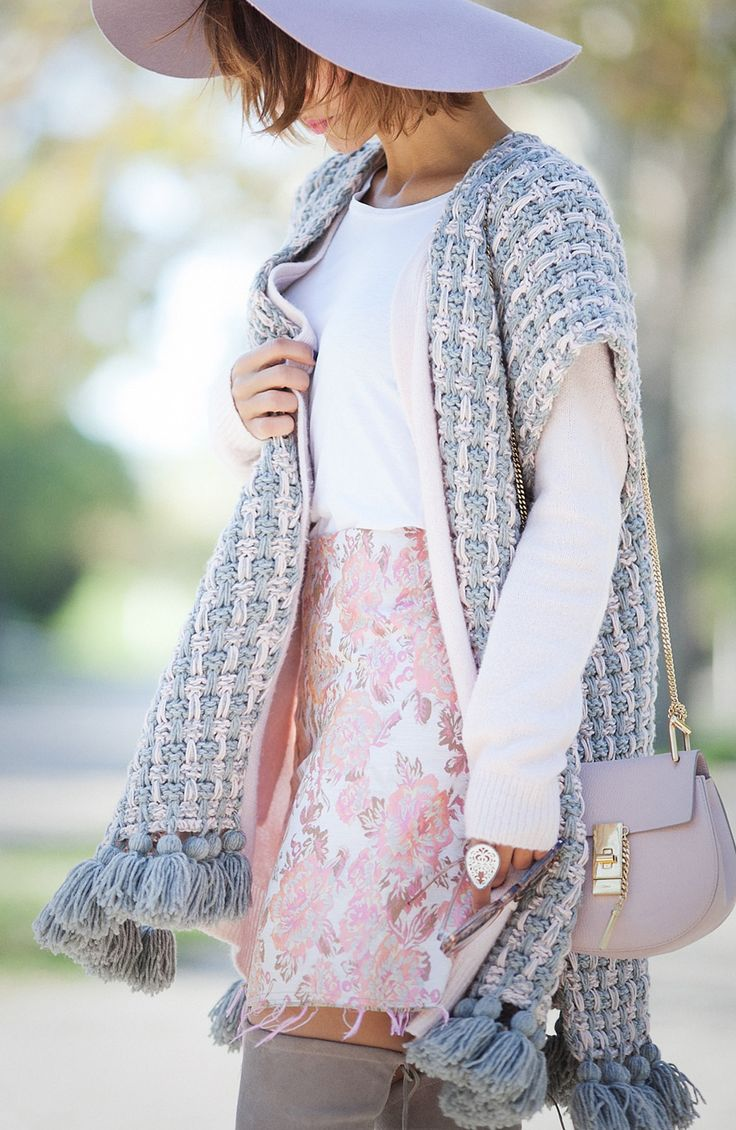 knitted poncho, chloe drew bag, over the knee boots outfit, ,
