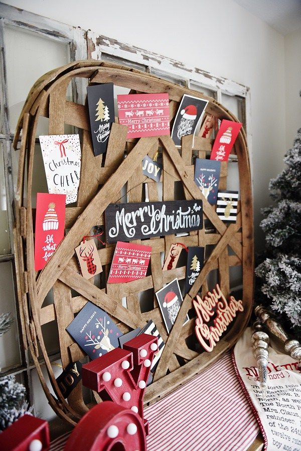 DIY Tobacco Basket Christmas Card Holder -