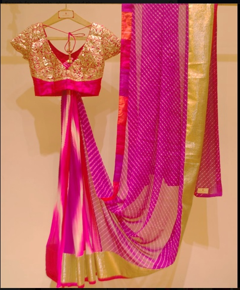 Rani pink Laheriya saree. One of India's priced possessions'