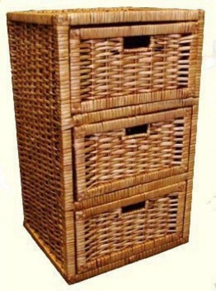 Wicker Cabinet Storage Unit
