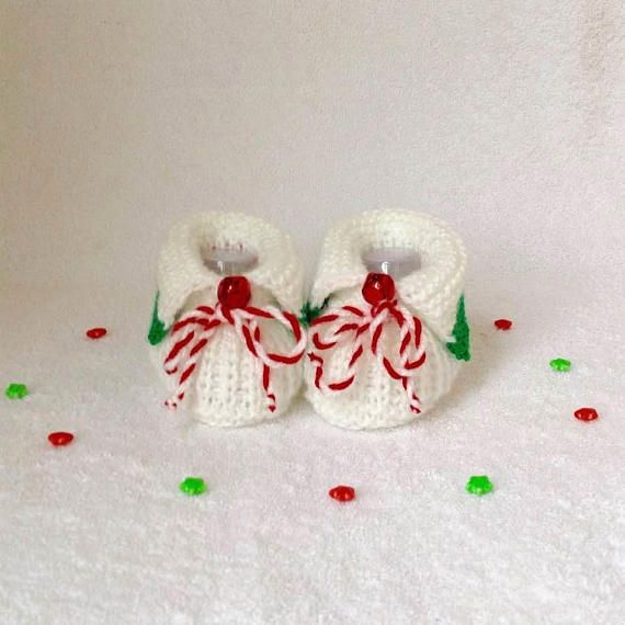 Christmas Booties with red bells for Baby Knitted Booties