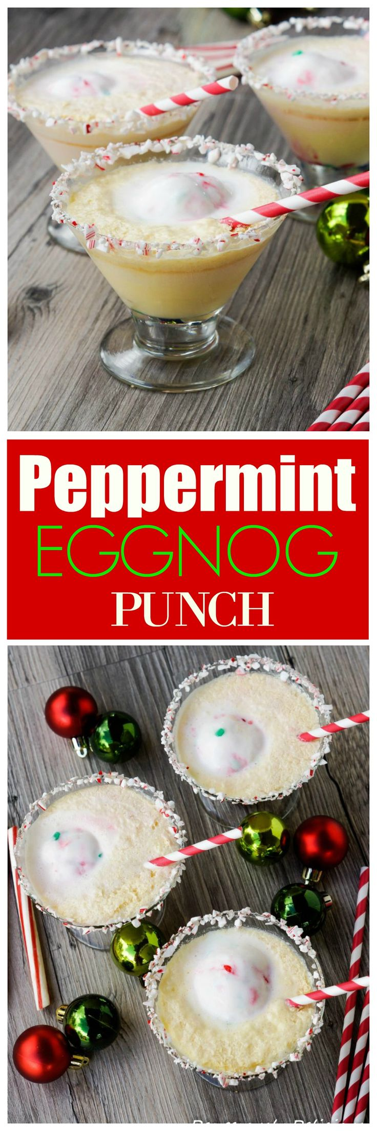 Peppermint Eggnog Punch - a non-alcoholic festive drink for Christmas!